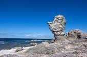 Raukar limestone cliffs on F�r� island in Gotland Sweden. Baltic Sea coastline. poster