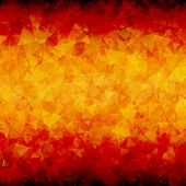 Abstract red orange scattered triangles vector background with blackout at top and bottom sides. poster