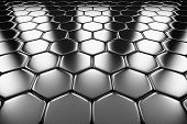 Metal surface of steel hexagons perspective view shiny abstract industrial background poster