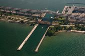 Aerial Of Skyway Bridge Along Lake Ontario lakeshore, in Hamilton, in southern Ontario, Canada. poster