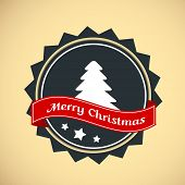 Vintage Merry Christmas badge with Xmas tree and red ribbon.  poster
