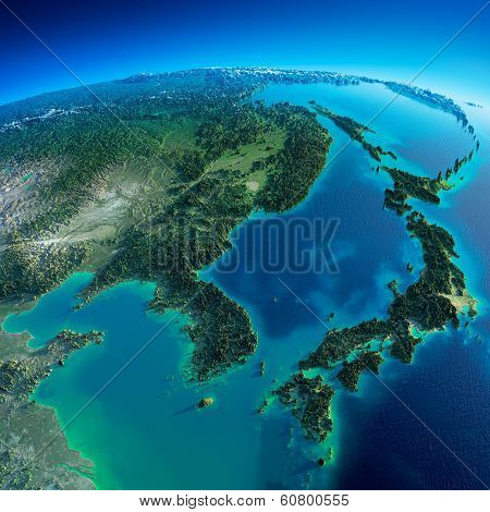 Detailed Earth. Korea And Japan