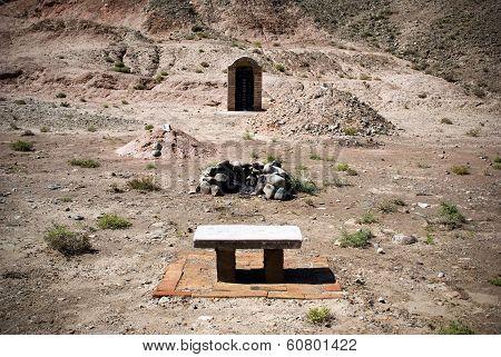 Graves near Jiayuguan Pass in China. On Hills near Wuwei city in Gansu Province. poster