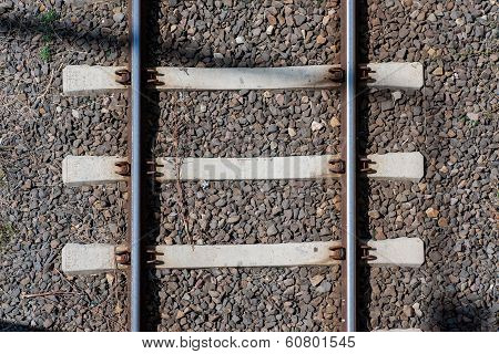 Railway Tracks Top View Close Up