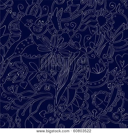 Floral seamless pattern linework ethnic design