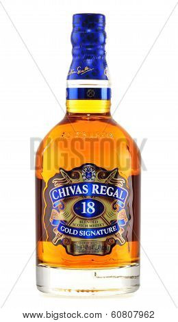 Bottle Of Chivas Regal 18 Gold Signature Isolated On White
