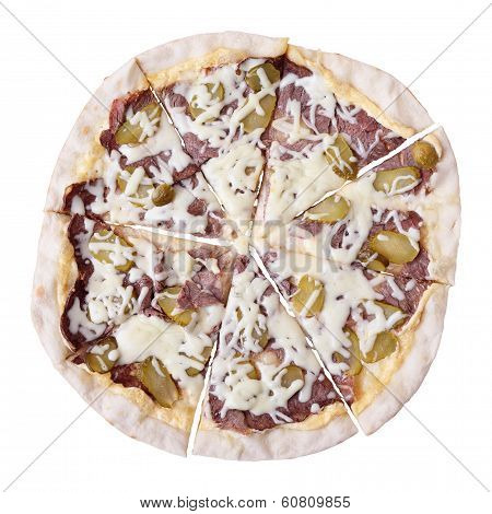 Sliced pizza manzo with beef and pickled cucumber isolated over white background. Top view. poster