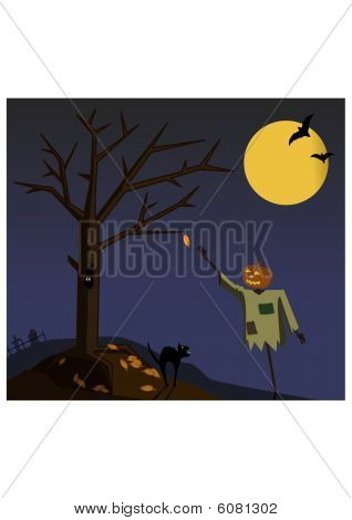 Dark autumn night. Pumpkin bogie is reaching for last leaf. poster