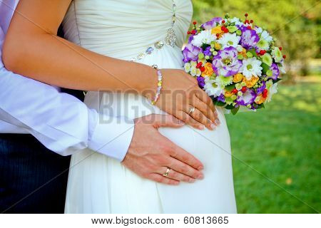 Hands With Rings And Bouquet