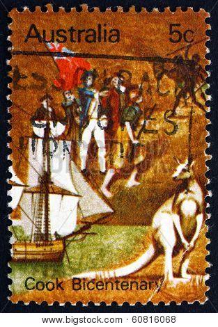 Postage Stamp Australia 1970 Endeavour, Landing Party