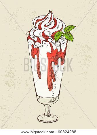 Milkshake with strawberry syrup