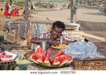 Indian Man Eating Rice
