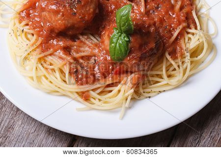Pasta Spaghetti With Meatballs On A Table Top View