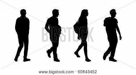 People Walking Outdoor Silhouettes Set 7