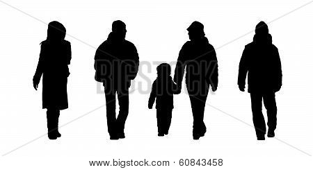People Walking Outdoor Silhouettes Set 6