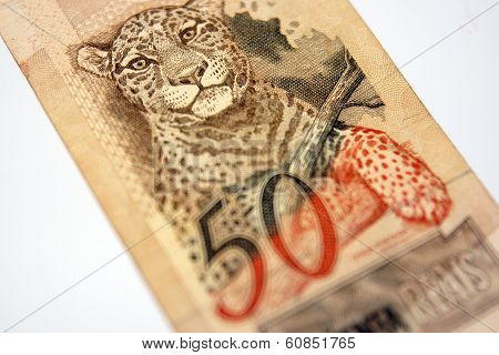 A Fifty Reais Bill From Brazil With A Leopard