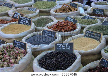 Herbs and spices at a Provencal market in France