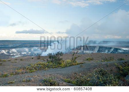 Smoking Crater Of Halemaumau Kilauea Volcano In Hawaii Volcanoes National Park On Big Island
