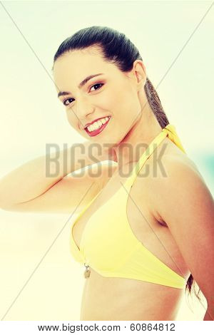 Beautiful young caucasian woman in bikini