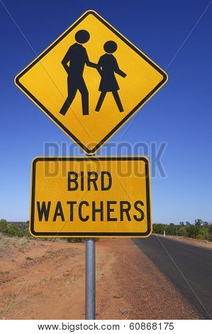 Bird Watchers Sign in Outback Australia