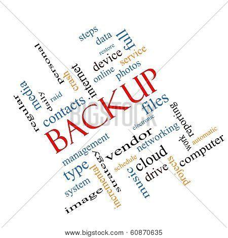 Backup Word Cloud Concept Angled