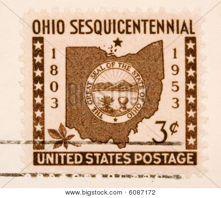 This is a A stamp printed by USA shows the state of Ohio Seal and border for Ohio 's Centennial, circa 1953. poster