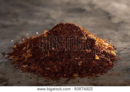 Rooibos Tea On A Metal Texture