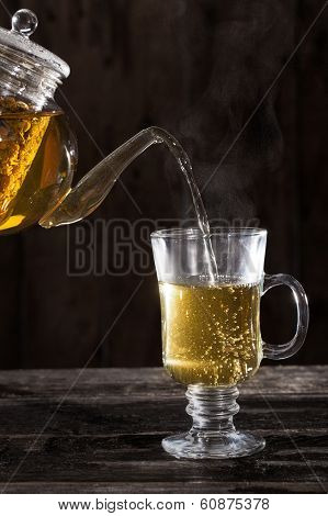 Pouring Hot Chamomile Tea