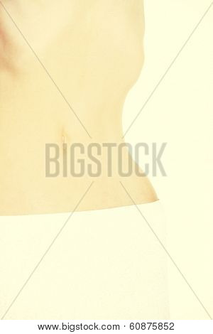A skinny belly closeup,
