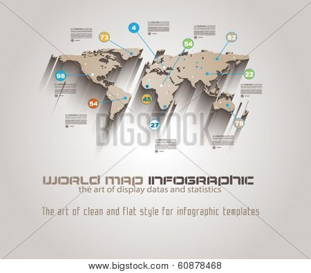 World Map Infographic Template to display your global data.