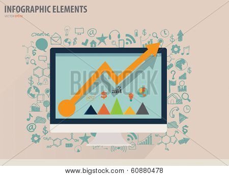 Infographic design template - modern computer with business icons and signs, vector illustration