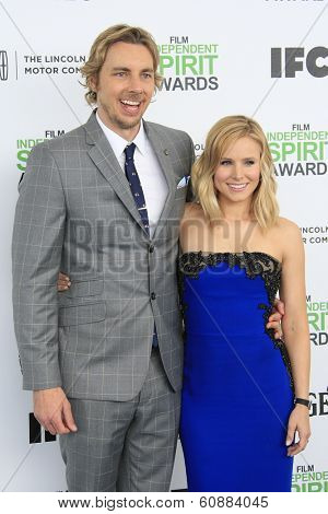SANTA  MONICA - MAR 1: Dax Shepard, Kristen Bell at the 2014 Film Independent Spirit Awards at Santa Monica Beach on March 1, 2014 in Santa Monica, California