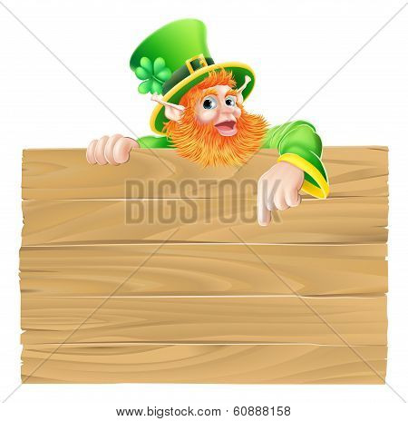 Cartoon Leprechaun Wooden Sign
