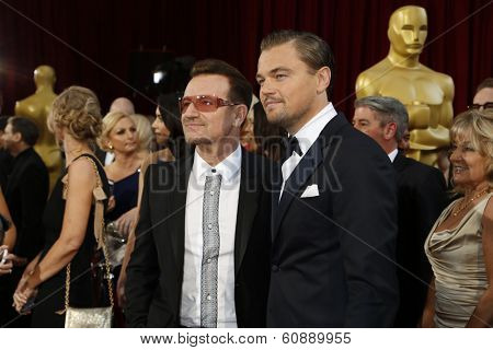 LOS ANGELES - MAR 2:  Bono, Leonardo DiCaprio at the 86th Academy Awards at Dolby Theater, Hollywood & Highland on March 2, 2014 in Los Angeles, CA