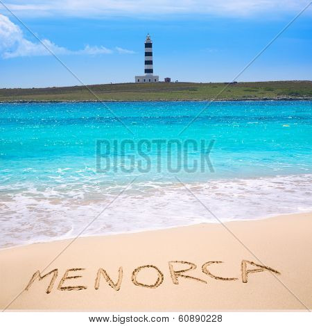 Menorca Punta Prima far illa del Aire island lighthouse in Balearic islands