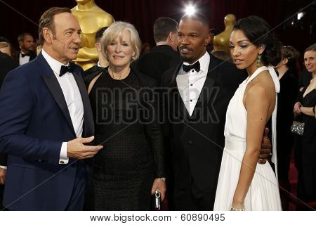 LOS ANGELES - MAR 2:  Kevin Spacey, Glenn Close, Jamie Foxx, Corinne Bishop at the 86th Academy Awards at Dolby Theater, Hollywood & Highland on March 2, 2014 in Los Angeles, CA