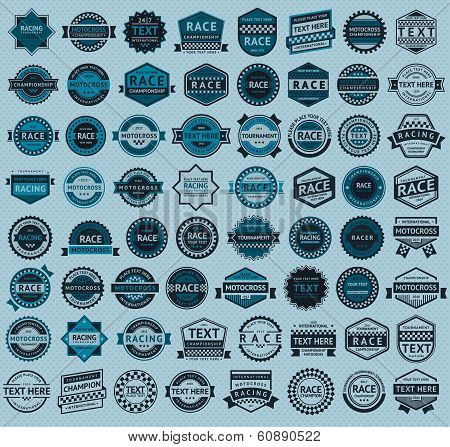 Racing badges - big blue set, vintage style