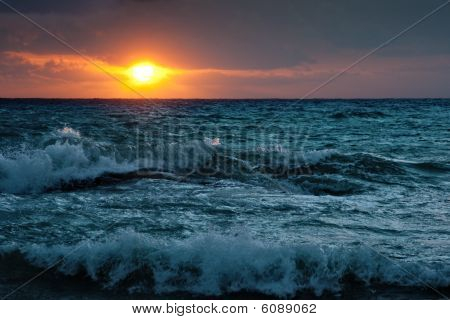 Stormy Sunsrise On The Sea