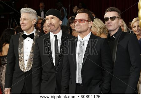 LOS ANGELES - MAR 2:  The Edge, Adam Clayton, Bono, Larry Mullen Jr. at the 86th Academy Awards at Dolby Theater, Hollywood & Highland on March 2, 2014 in Los Angeles, CA
