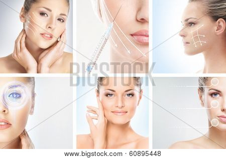 Collection of female portraits with the different effects (plastic and eye surgery, cosmetology, makeup and healthy lifestyle concept)