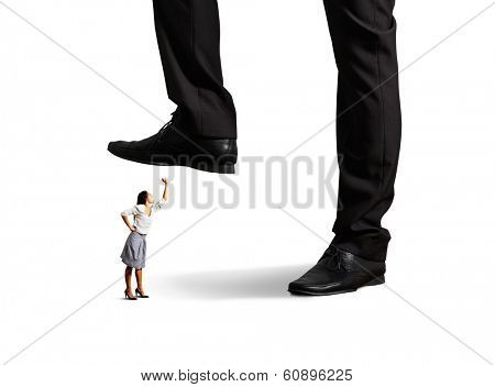 angry woman looking up and screaming at big boss over white background