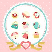 modern vector women accessories icon set with pink background poster