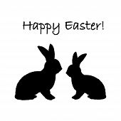 Monochrome silhouette of two Easter bunny rabbits. Design Easter uncolored card. Vector-art illustration poster