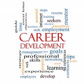 Career Development Word Cloud Concept with great terms such as goals resume mentor and more. poster