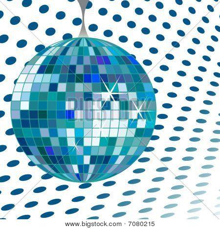blue disco ball, abstract vector art illustration poster