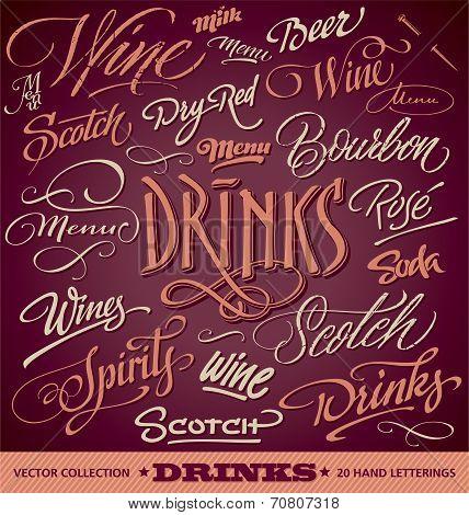 DRINKS menu headlines set (vector)