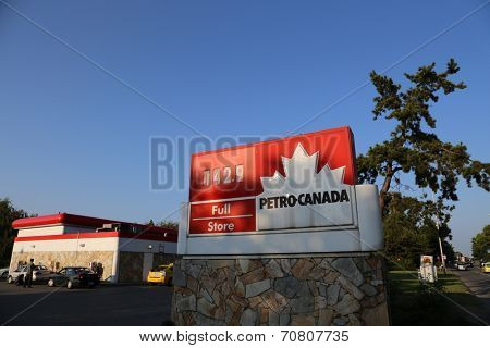 Vancouver, BC Canada - August 17,  2014 : One side of Petro Canada gas station in Van BC Canada. The company retained the Suncor Energy name for the merged corporation and its upstream operations.