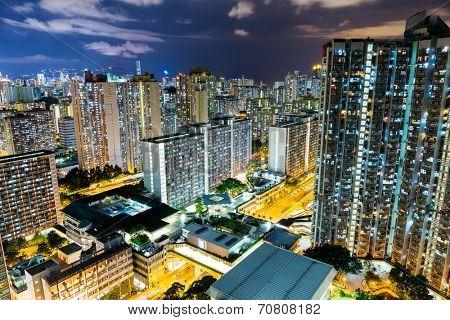 City life in Hong Kong at night
