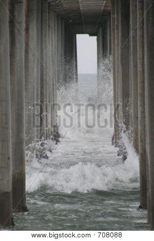 Crashing Waves Into Pier