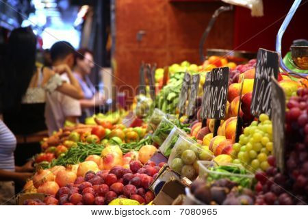 Fruit Market With Huge Selection Of Fruits